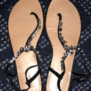Express Black w Rhinestone T-Strap Sandal Size 10